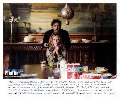 Burton Y Pfeiffer en el rodaje de Dark Shadows