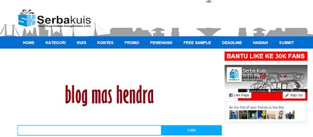 Penampakan Tampilan Website Serba Kuis - Blog Mas Hendra