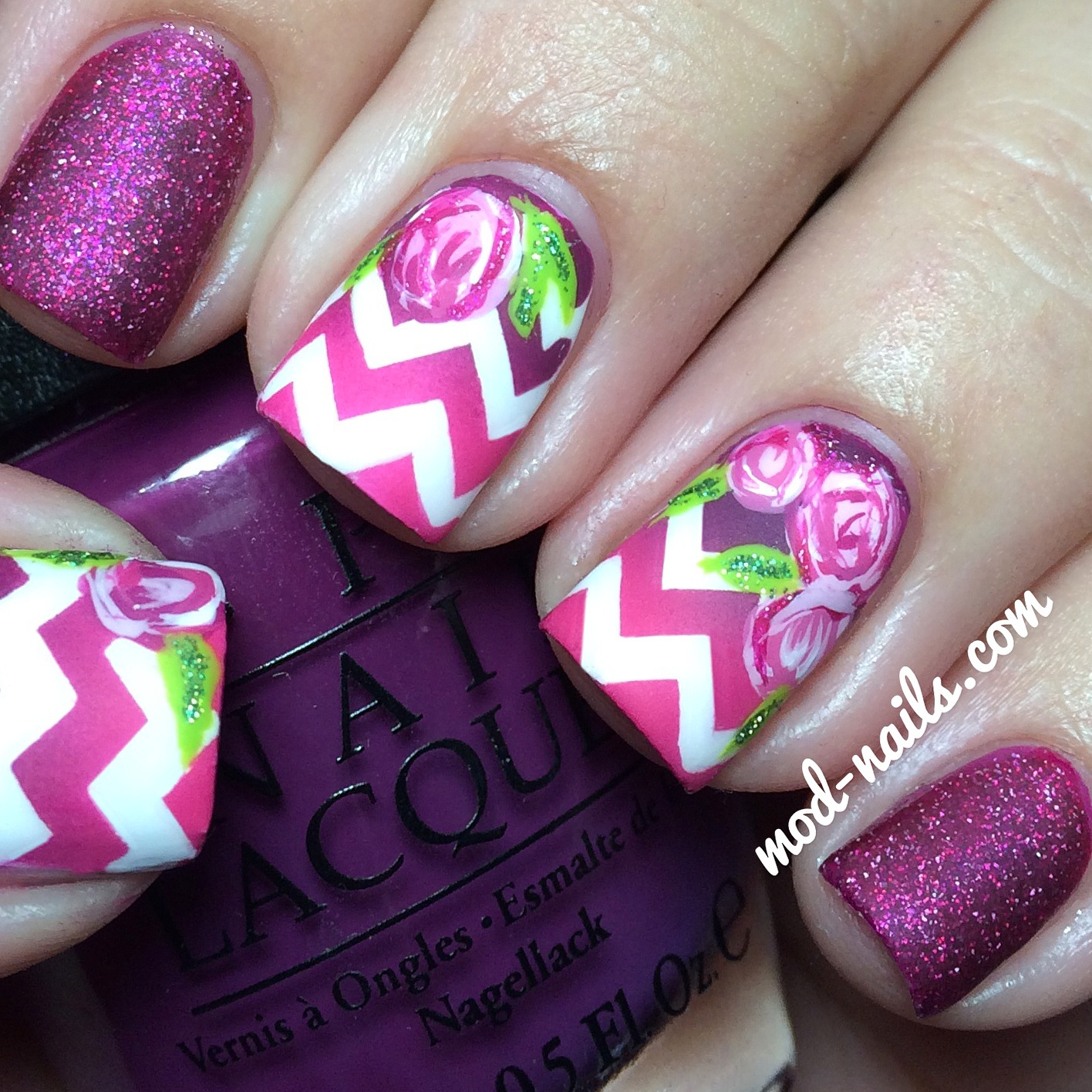 ModNails: HOW TO: MATTE CHEVRON AND ROSES NAIL ART