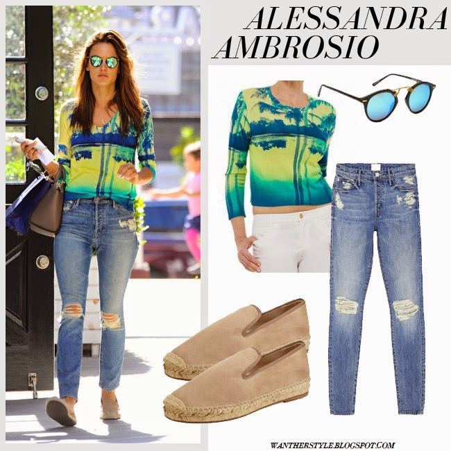 Alessandra Ambrosio in palm print top and blue distresses jeans with beige espadrilles april 9 want her style spring streetstyle