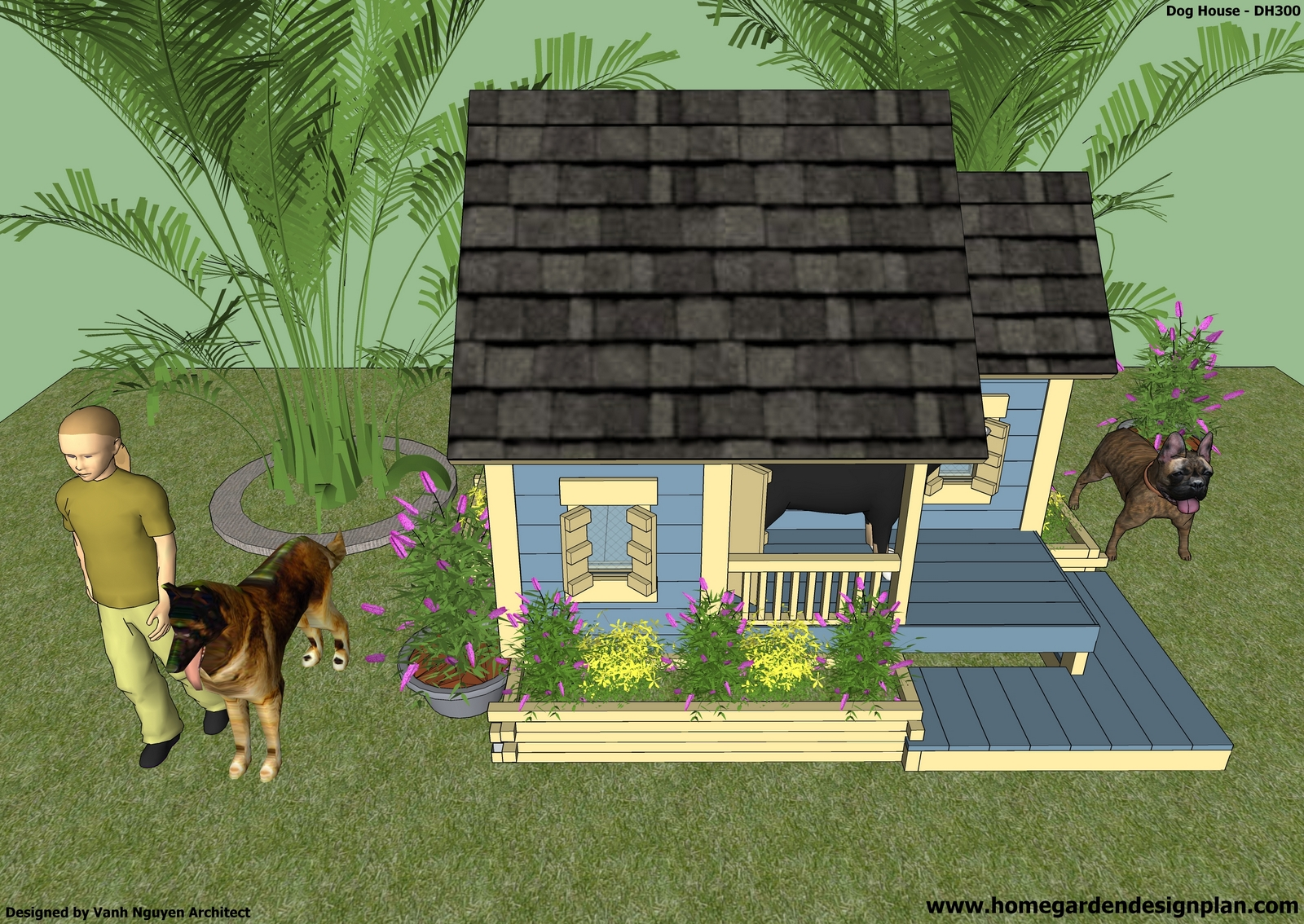 home garden plans: DH300 - Dog House Plans Free - How to Build an ...