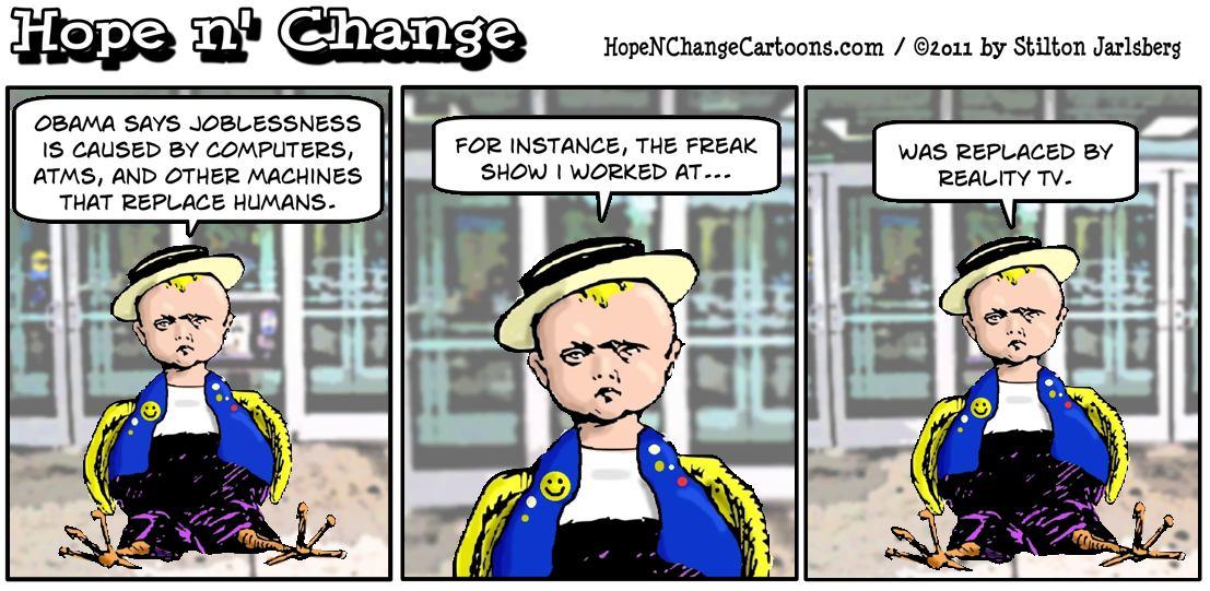 Barack Obama blames joblessness on ATM machines because he is an unbelievable idiot, hopenchange, hope n' change, hope and change, stilton jarlsberg