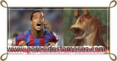 Ronaldinho Jugador Brasileño con Jar jar Binks