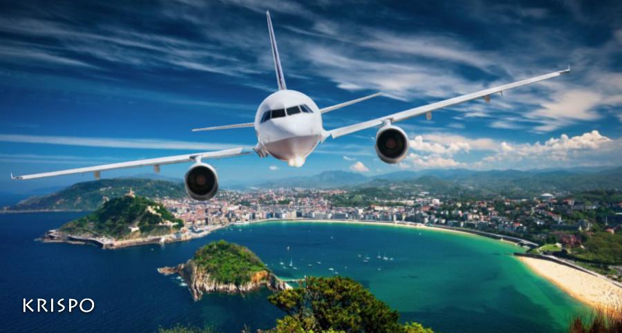 vista aerea de san sebastian con avion de frente