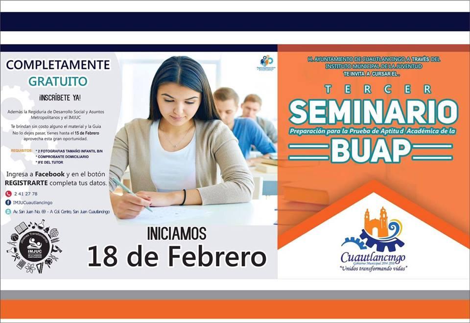 Cuautlancingo ofrece seminario de preparación para entrar a la BUAP