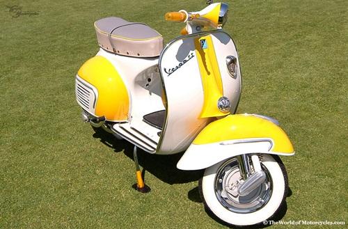 modifikasi motor vespa antik warna kuning putih
