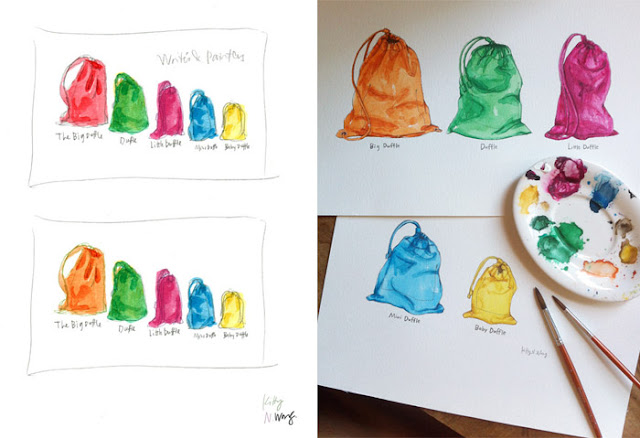 Burberry Duffel bags and Pouches / Kitty N. Wong Illustration process shot