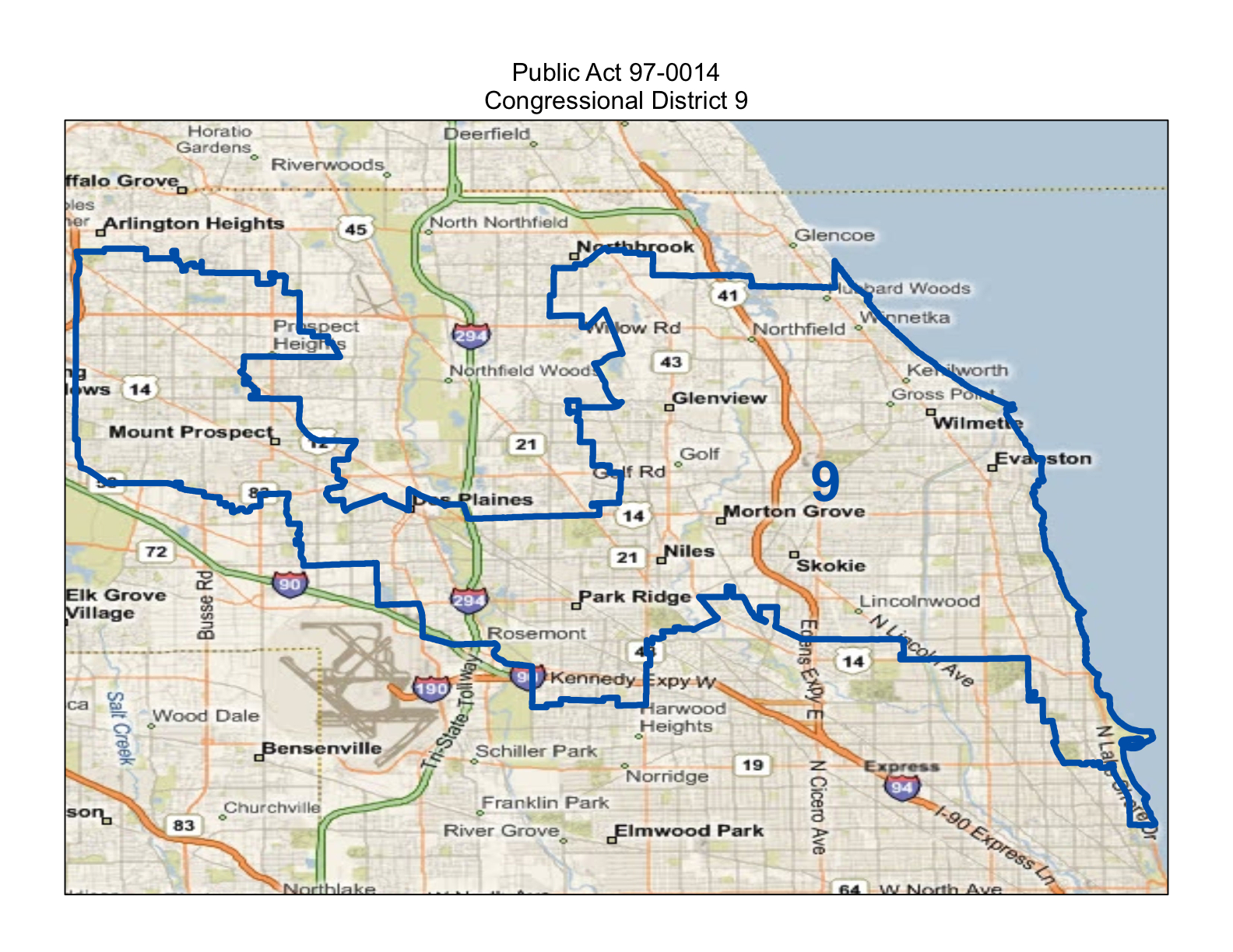 map of realigned illinois 9th congressional district