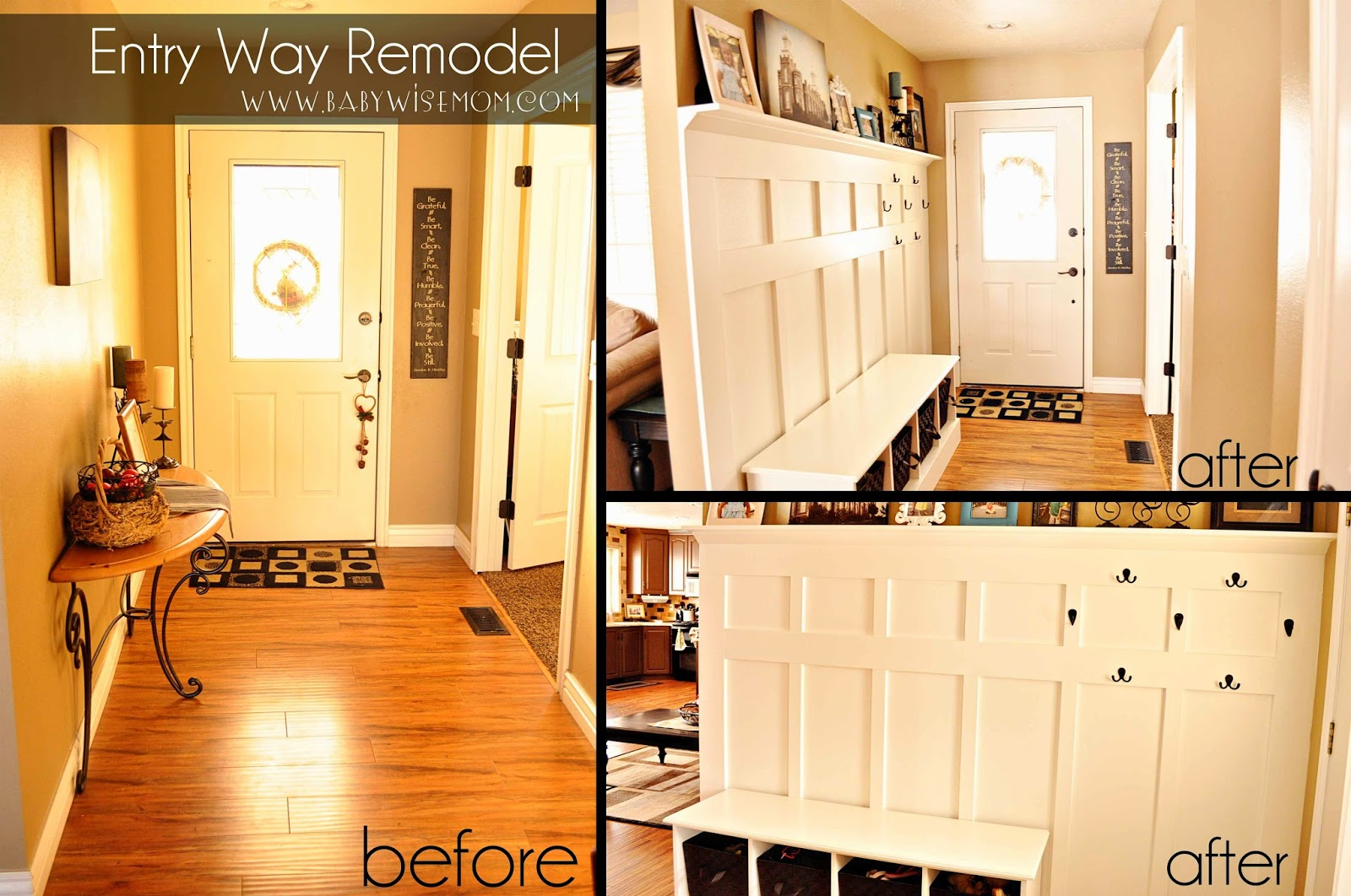 Remodeled DIY Board & Batten Entry Way {Organizing Life}