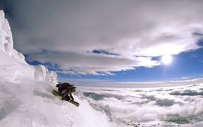 Crazy Snowboarder Over The Clouds Mountain Hd Desktop Wallpaper