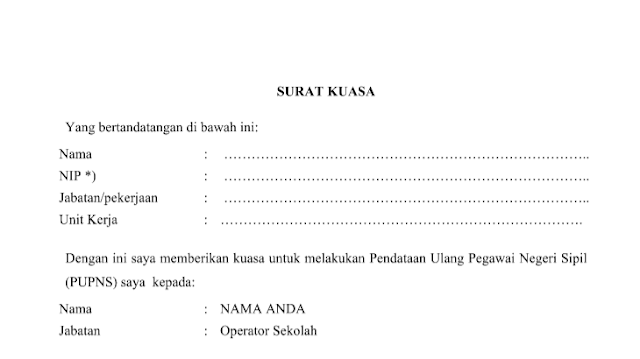 Surat Kuasa PUPNSTerbaru Download Surat Kuasa Pengisian PUPNS 2015