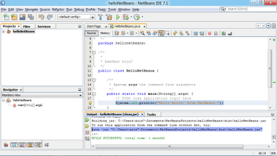 NetBeans IDE Output show you How to run NetBeans compiled program