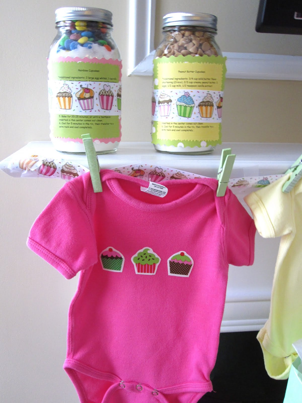 Onesies made with iron-on cupcakes