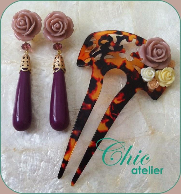 Pendientes y peineta de moda flamenca hecho a mano