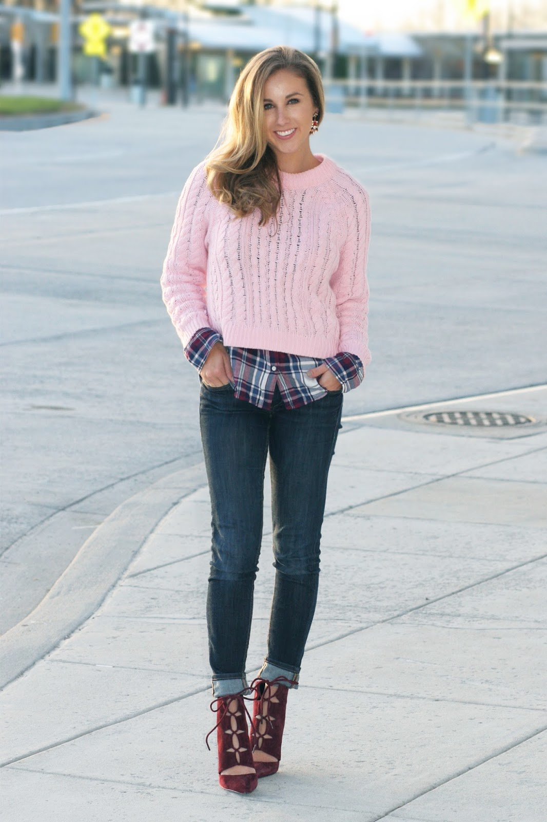 cropped-sweater-with-plaid-button-up-layers