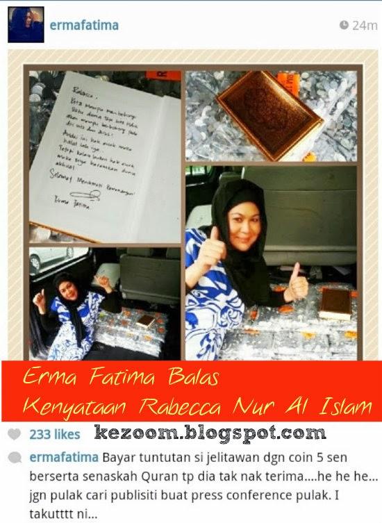 Erma Fatima Balas Kenyataan Rabecca Nur Al Islam