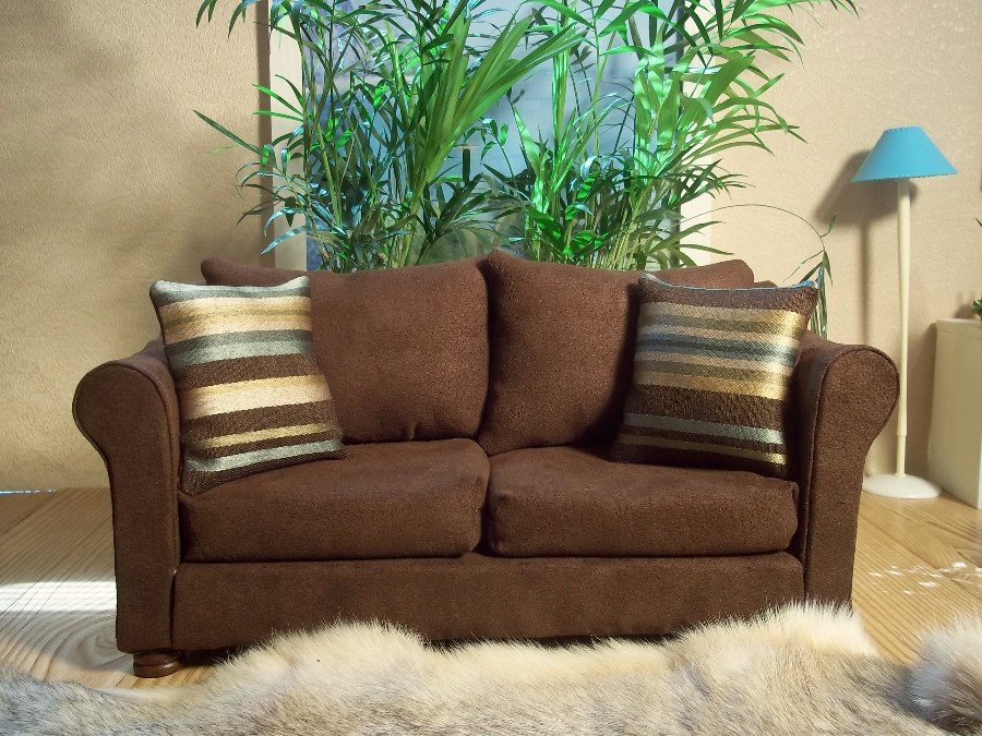 Genial Brown Suede Sofa