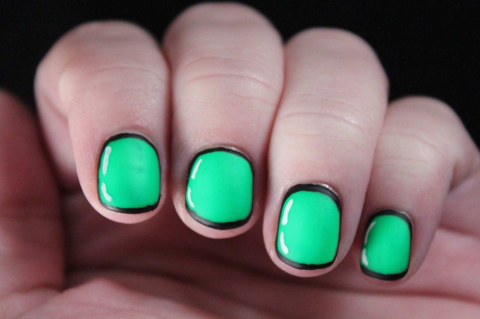 Glimpses of the Moon: Neon Green Cartoon Nails