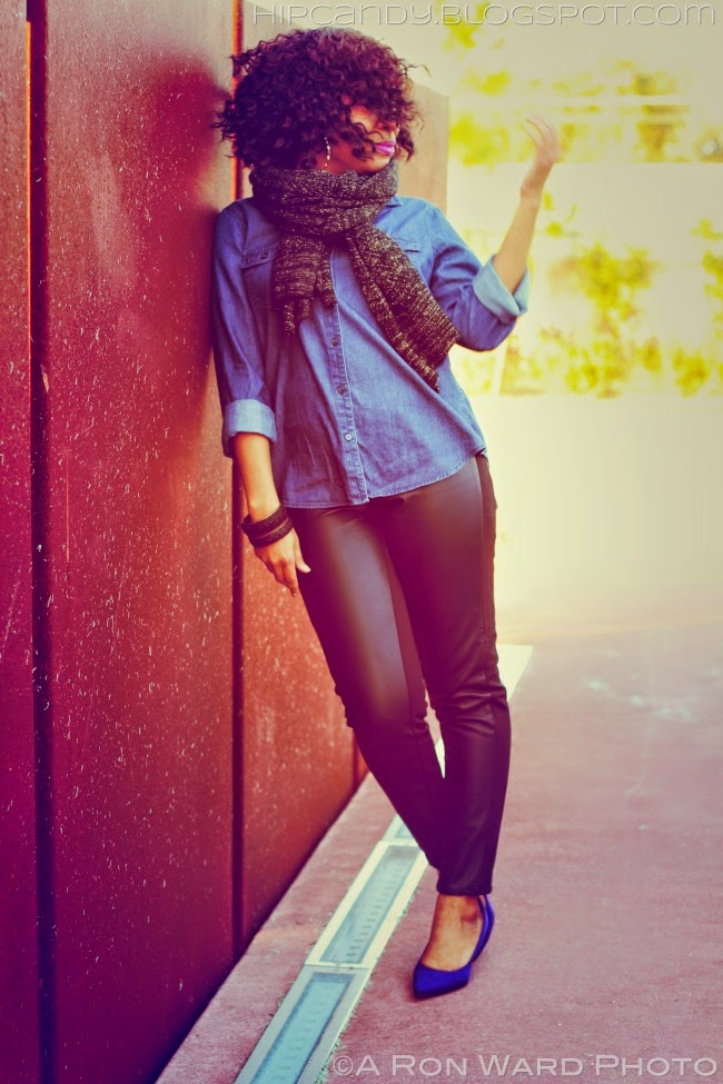 denim shirt faux leather pants outfit