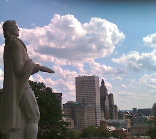 Statue of Roger Williams at Prospect Terrace Park in Providence