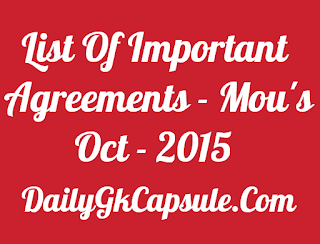 list of important agreements bankersadda mou oct 2015
