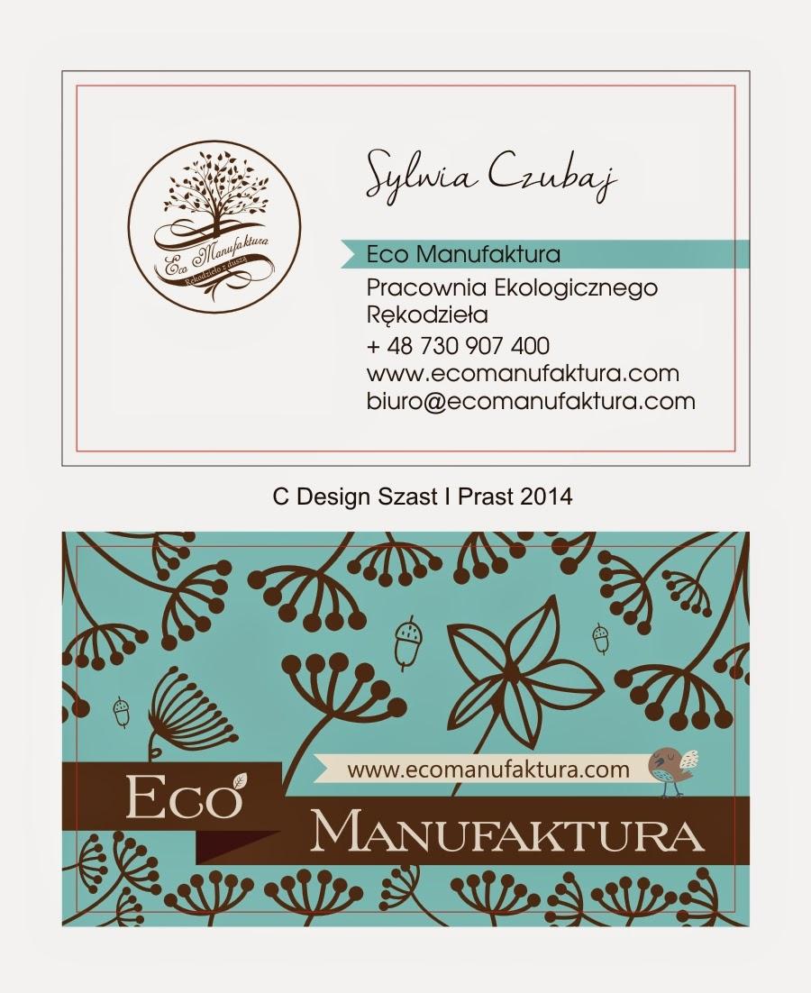 wizytówka Eco Manufaktura - nowa identyfikacja graficzna pracowni rękodzieła i decoupage.