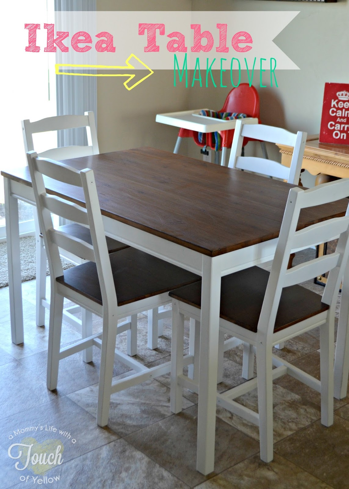 A mommys lifewith a touch of yellow ikea kitchen table makeover ikea kitchen table makeover tutorial watchthetrailerfo