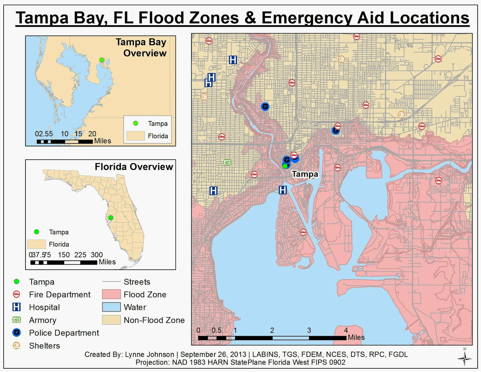 this map shows the location of flood zones in tampa bay fl as well as the locations of possible emergency aid and shelter