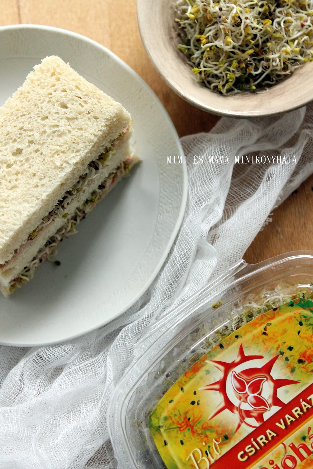 Tonhalas-csírás szendvics