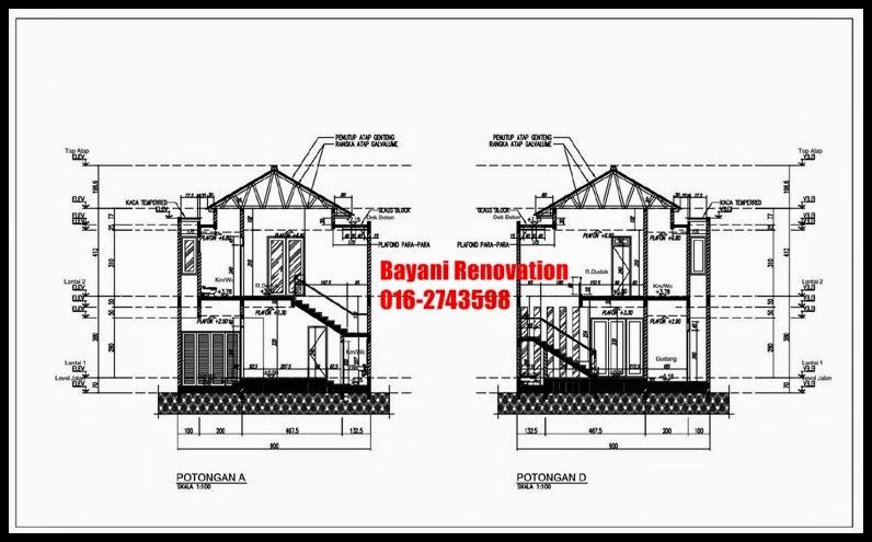 plan rumah semi d 2 lantai moden tropis bayani home