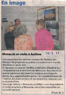 Aullène en Alta Rocca en Corse du Sud et Monacia d'Aullène en Corse du Sud : exposition Associu d'i Monacci 'Monacia au XVIIIe siècle'