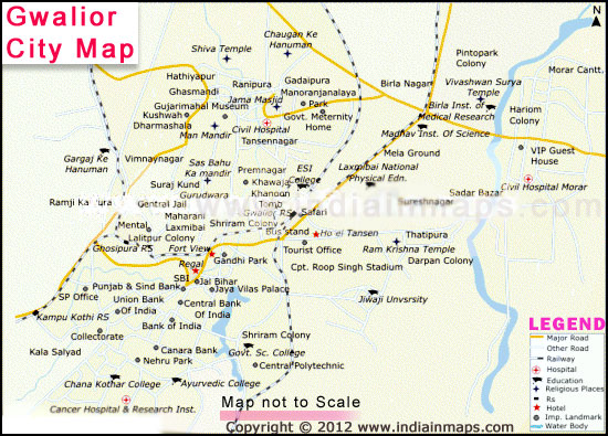 Gwalior India  city photos gallery : Map of Gwalior | Gwalior City Map | Cities in India