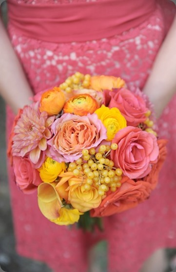 bouquet pink coral yellow