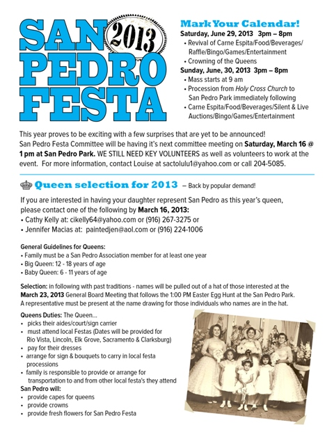 2013 San Pedro Festa Coming Soon