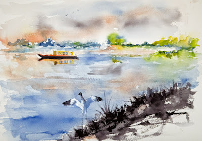 aquarelle des bords de Loire