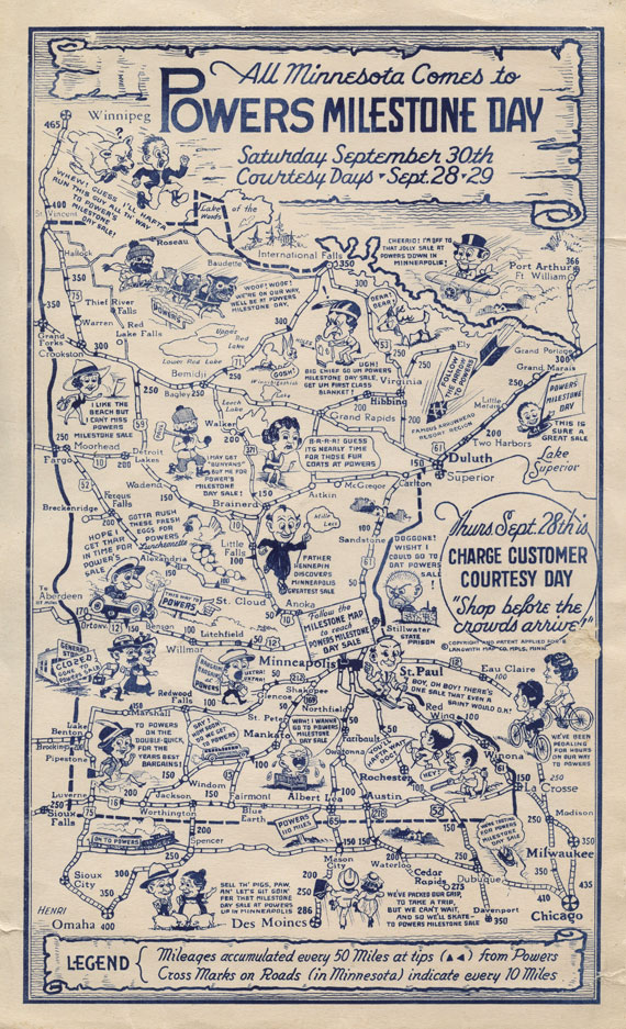 Vintage Minnesota Advertising Map