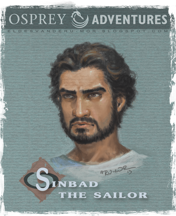 Concept art or sketch of Sinbad's face illustrated by RU-MOR for OSPREY Publishing