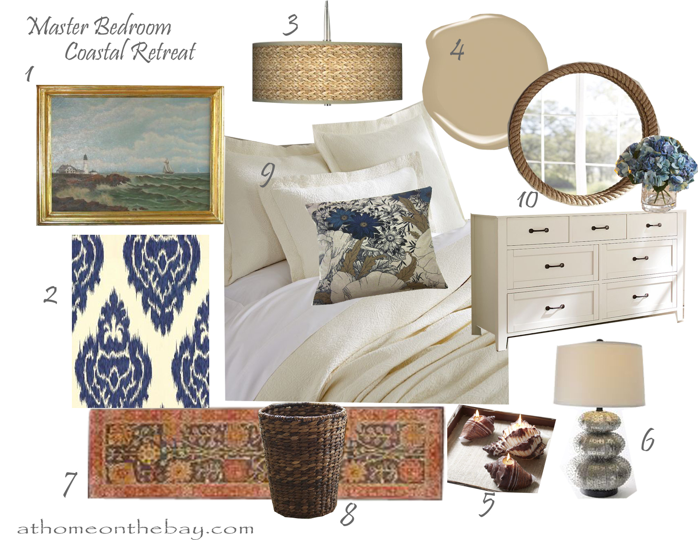 Design Board: Master Bedroom - At Home on the Bay