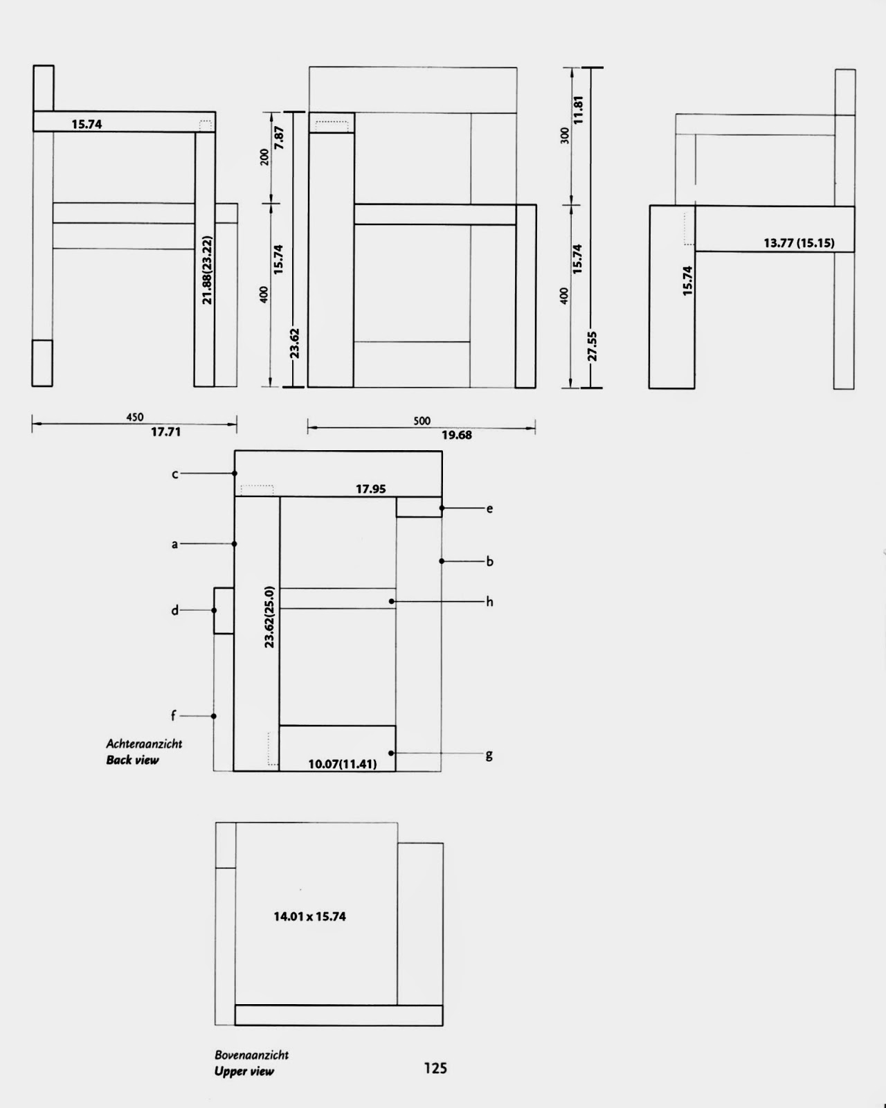 Building gerrit rietveld february 2011 for Chair design with dimensions