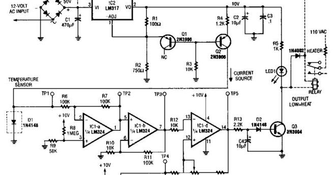 simple temperature sensor circuit diagram