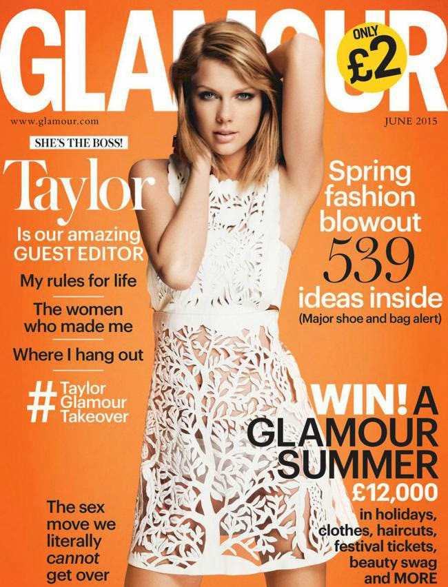 Taylor Swift graces the cover of glamour uk june 2015 issue