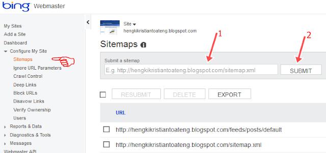 cara mendaftarkan sitemap blog ke bing dan yahoo