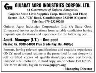 Gujarat Agro Industries Corporation Ltd., Gandhinagar Recruitment 2015