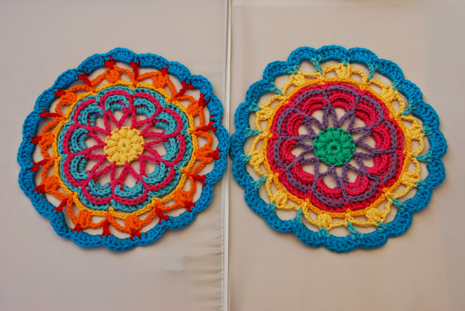 image of colourful crochet mandalas
