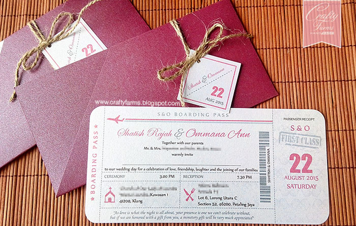 Purple Boarding Pass Wedding Card for Destination Weddings