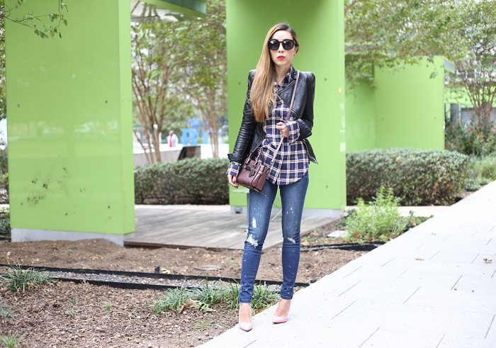 Justfab shirt, blank denim leather jacket, coach swagger 20, Justfab skinny jeans, christian louboutin so kate pumps, karen walker super dumper sunglasses, fashion blog, fall essential