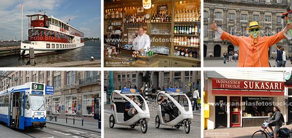 Barcos, tranvías, bares, ciclo-taxis, Plaza Dam, bicicletas
