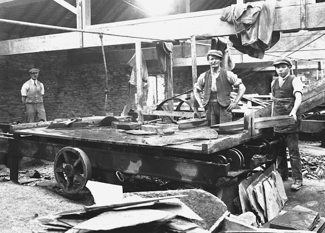 Wynne Slate Quarry, Glyn-Ceiriog, Denbighshire. Interior showing a sawing-table. The quarry was last worked in 1928.