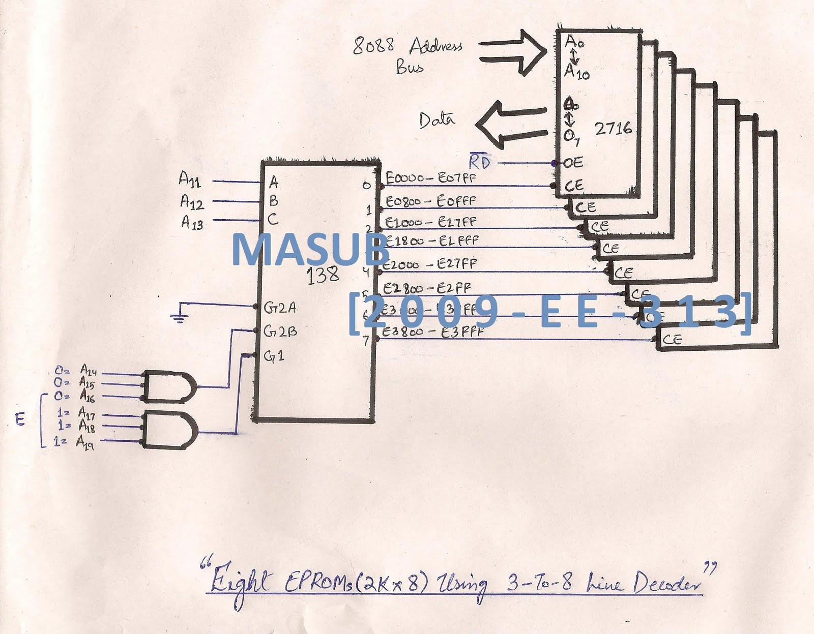 3 8 Decoder Logic Diagram Live With Masub Microprocessor Microcontroller Assignment Circuit 2kx8 Eprom To