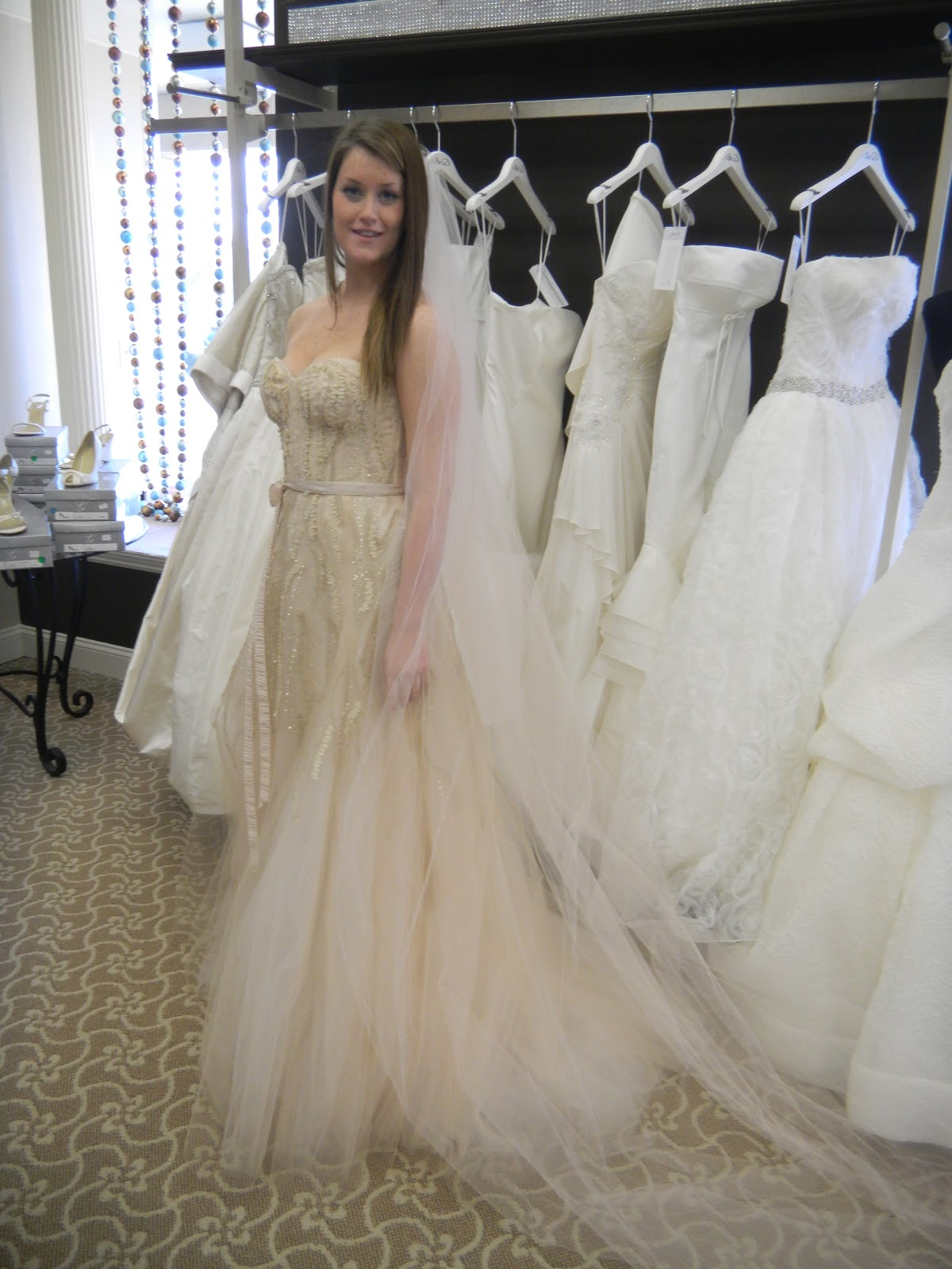 In This Look We Ve Paired The Stunning Candy By Monique Lhuillier With A Blush Toned Cathedral Veil Toni Federici Particular Dress Also Works